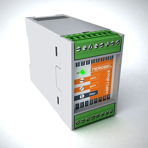signal amplifier / DIN rail / electronic / for load cells