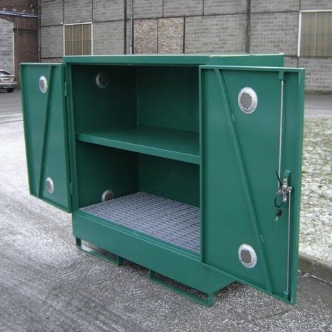 storage cabinet / floor-mounted / hinged door / double door