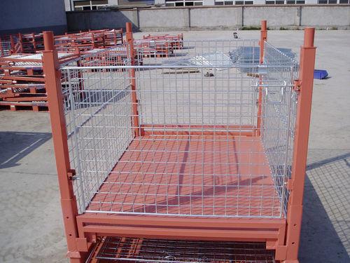 steel pallet box / wire mesh / handling / folding