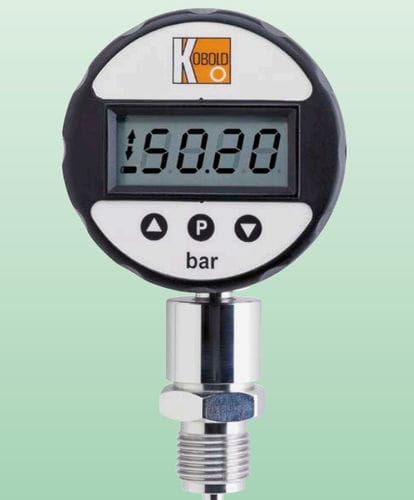 pressure gauge with LCD display / electronic / for gas / stainless steel