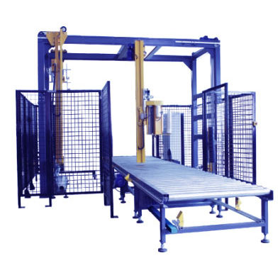 rotary arm stretch wrapper / automatic / pallet / with top sheet applicator