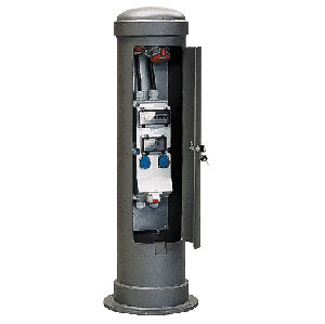 fixed outdoor electric distribution bollard 16 - 63 A, 230 - 400 V, IP44 | 83722  Mennekes