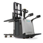 electric stacker truck / with rider platform / transport / for warehouses