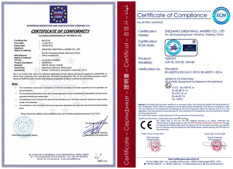 Ce Atex Certificate Wenzhou Zhejiang China Zhejiang