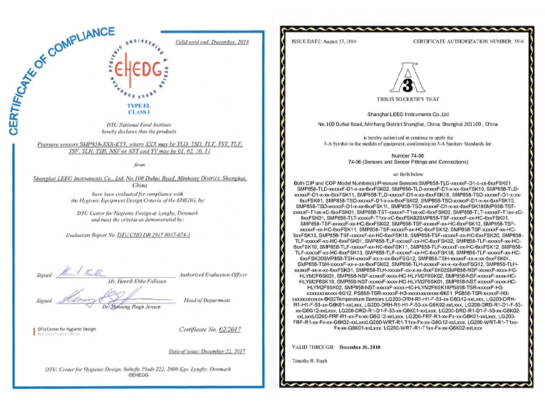 Congratulate Leeg As The First Ehedg Certified Pressure Transmitter