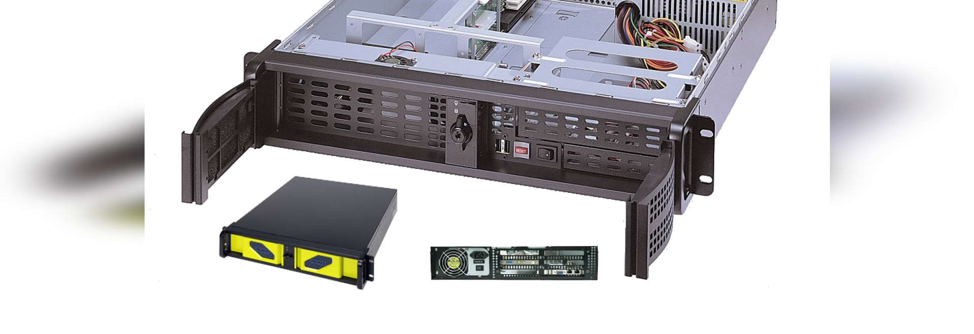 """AICSYS Inc. 2U Rackmount chassis for SBC with (1) 5.25"""" & (2) 3.5"""" Drive Bays, 4 PCI slot. PICMG 1.0 or 1.3 SHB Backplane supports PS/2 size power supply"""