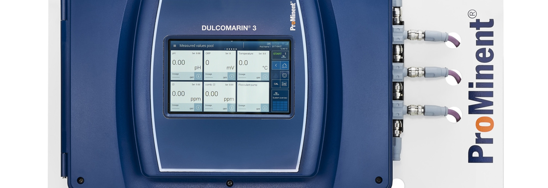 DULCOMARIN® 3 with touch display for simple operation with interactive design and commissioning wizard, which can also be operated via a web browser. Access to all functions from any internet-compa...