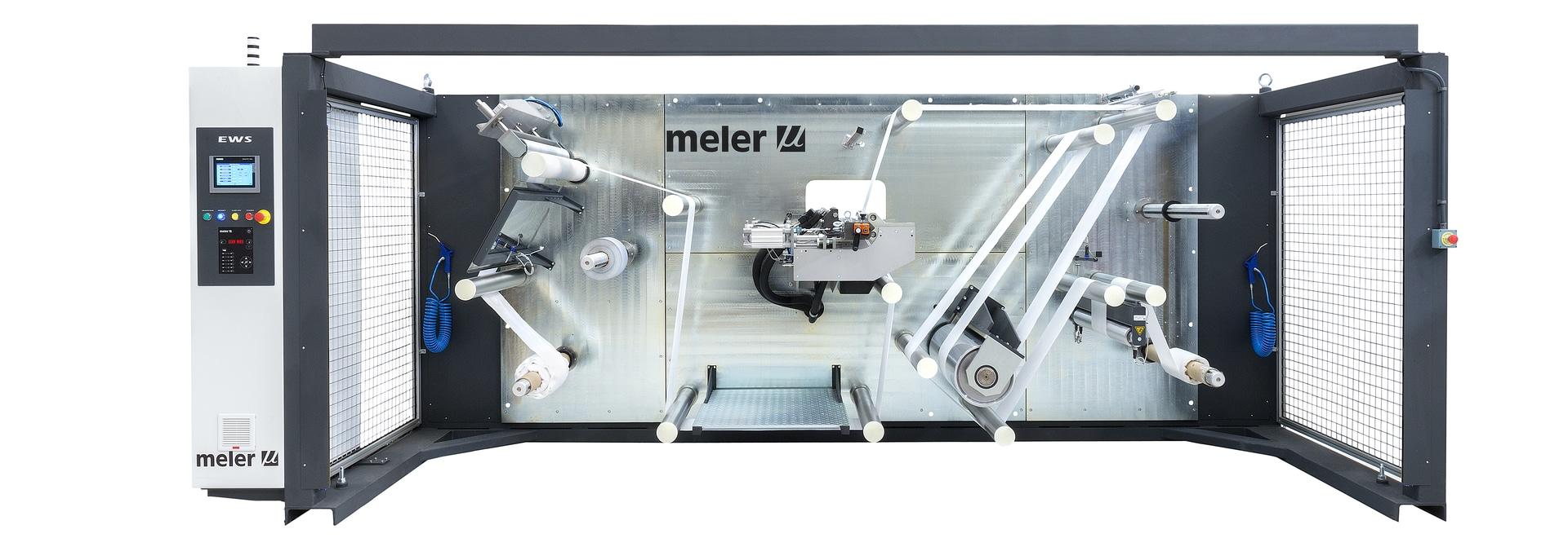 EWS winding-unwinding machine for applying Hotmelt and PUR adhesives