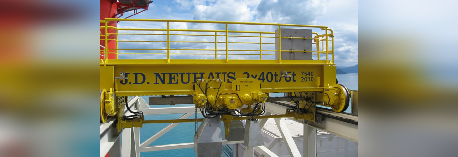 A hydraulic JDN crane system with an 80 tonne carrying capacity, shown in an offshore location