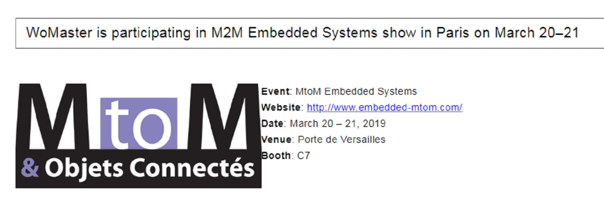 MtoM Embedded Systems WoMaster