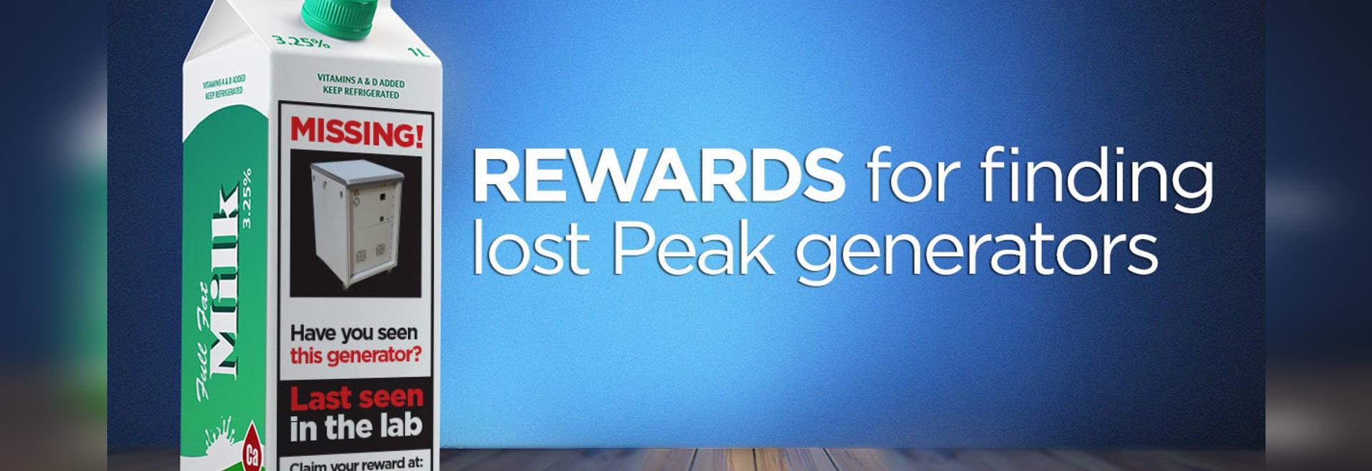 Rewards for finding lost Peak generators