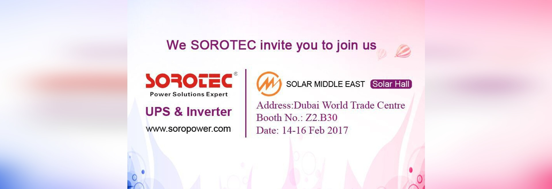 SORO will attend the 2017 Solar Middle East Exhibition in Dubai