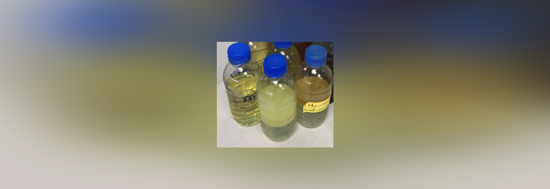 When water dissolves in oil, it tends to get cloudy, as seen here. Humidity levels greater than 50% can cause breakdown of oil and its additives.