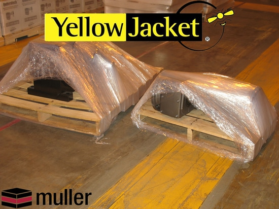 """""""MANUFACTURERS AND FABRICATORS SAVE ON PRODUCTION TIME AND OVERHEAD COSTS WITH YELLOW JACKET STRETCH WRAP MACHINE"""""""