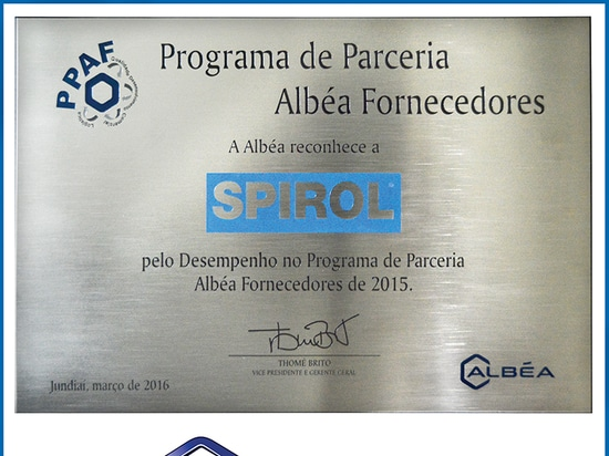 SPIROL Brazil Receives 2015 ALBÉA Supplier of the Year Award