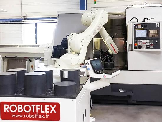 ROBOTFLEX loading / unloading robot for CNC machines