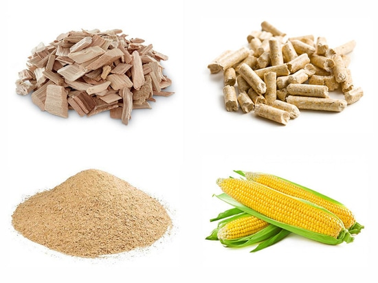 Wood chips / Wood pellets / Saw dust / Grass / Corn