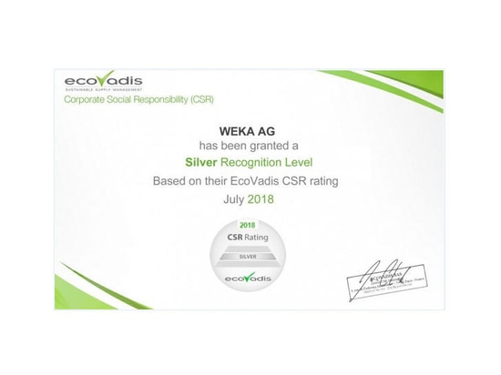 "WEKA AG has been awarded the new ""Silver"" classification by the independent audit company Eco Vadis for its commitment to corporate social responsibility (CSR)."