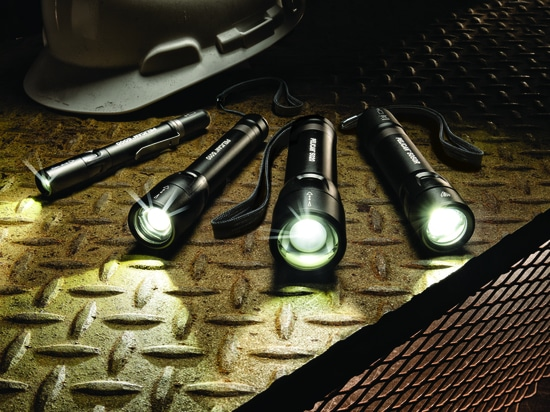 New Peli 5-Series Torches for Industrial Use, pioneering the Market with a Battery Status in the Tail Switch!
