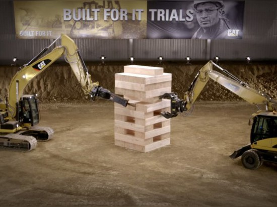 CATERPILLAR PLAYS JENGA LIKE TITANS