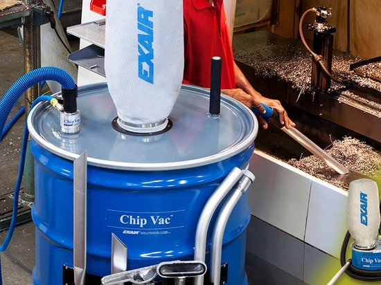 Vacuums chips directly into an open-top drum with no moving parts!