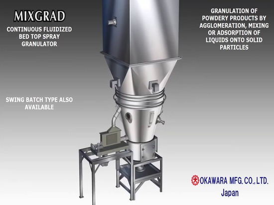 Continuous Fluid Bed Top Spray Granulator with Granule Size Classification System