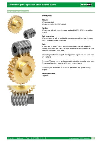 22500 Worm gears, right-hand, centre distance 50 mm