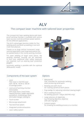 Welding Laser ALV 02 - ALPHA LASER GmbH - PDF Catalogs