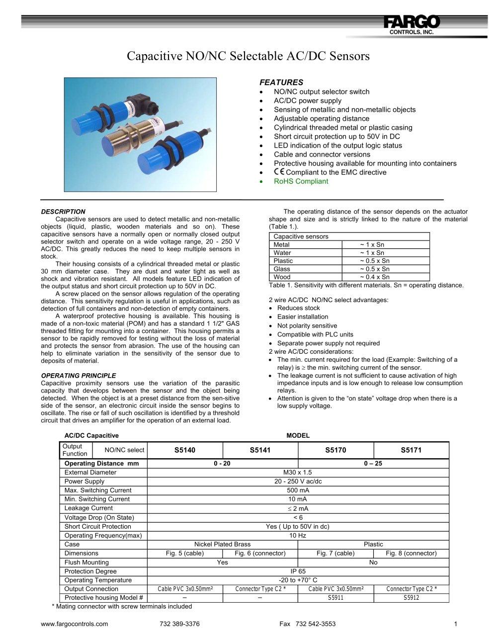 Capacitive No Nc Selectable Ac Dc Sensors Fargo Controls Inc Switch Circuit Diagram 1 2 Pages