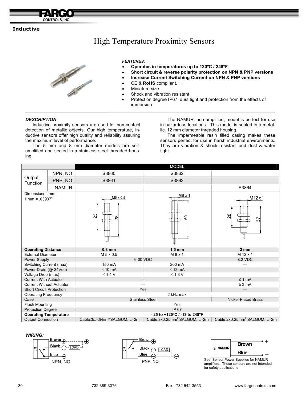 High Temperature Proximity Sensors Fargo Controls Inc Pdf Inductive Sensor Wiring Diagram Switch 1 Pages