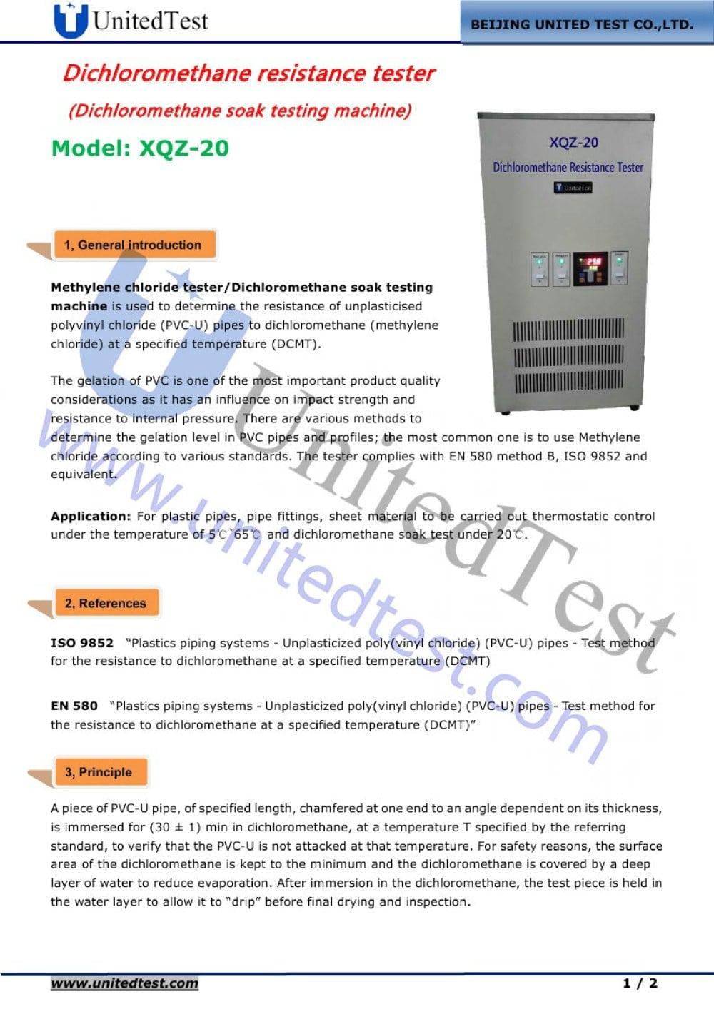 dichloromethane resistance tester beijing united test co ltd