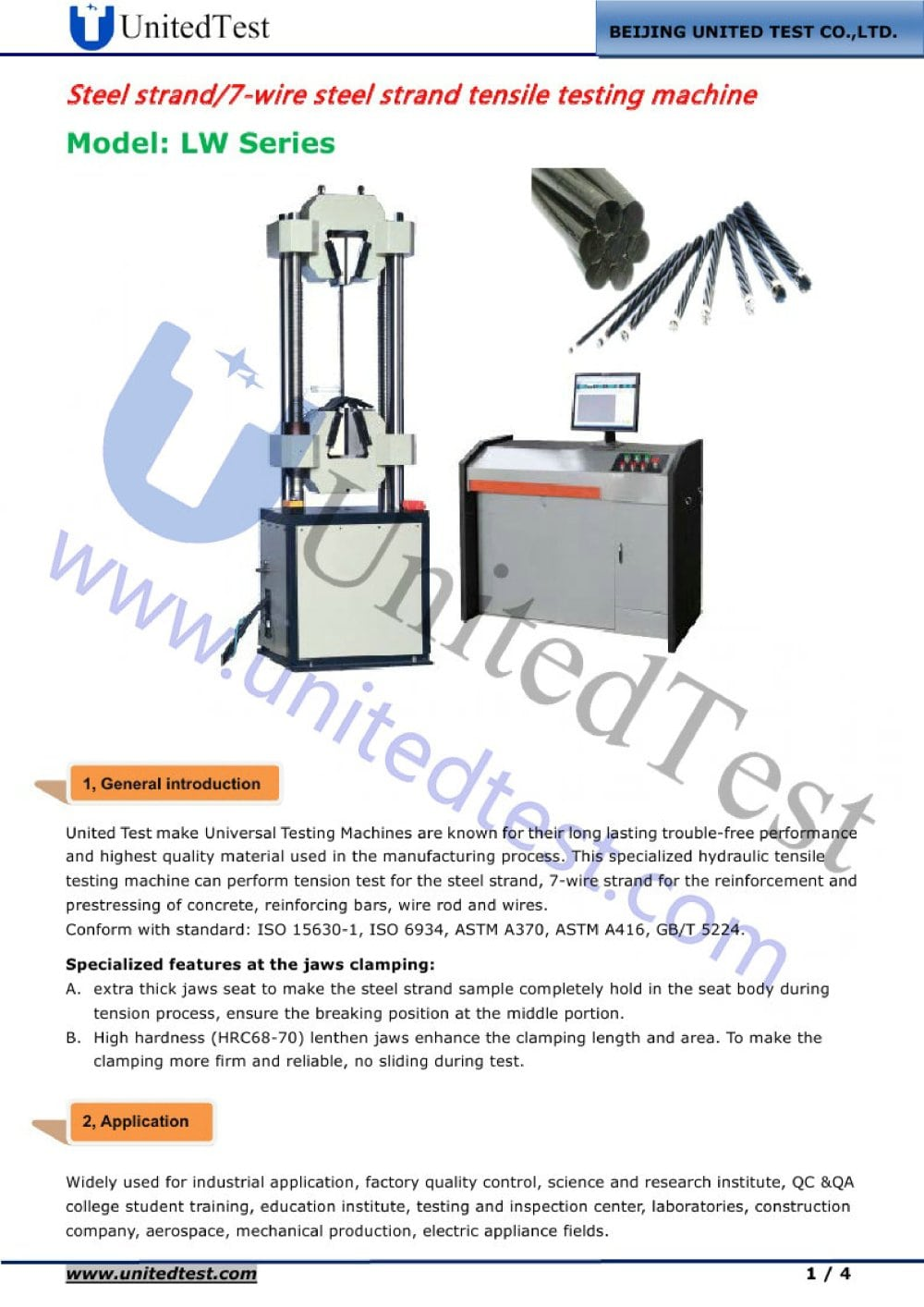 STEEL STRAND/7-WIRE STEEL STRAND TENSILE TESTING MACHINE - 1 / 4 Pages