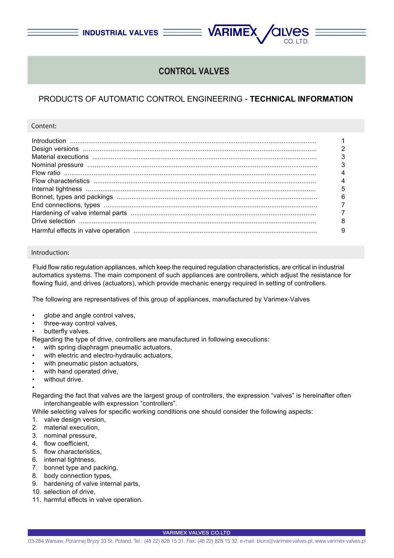 Control valves varimex valves poland spzoo pdf catalogue control valves 1 9 pages ccuart Image collections
