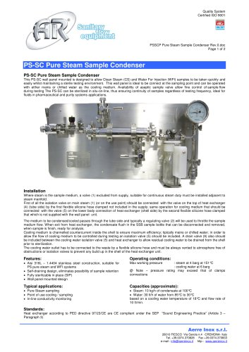 PSSCP Pure Steam Sample Condenser