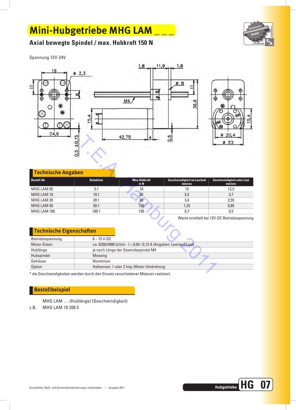 Mini-Hubgetriebe MHG LAM - Technische Antriebselemente GmbH - PDF ...