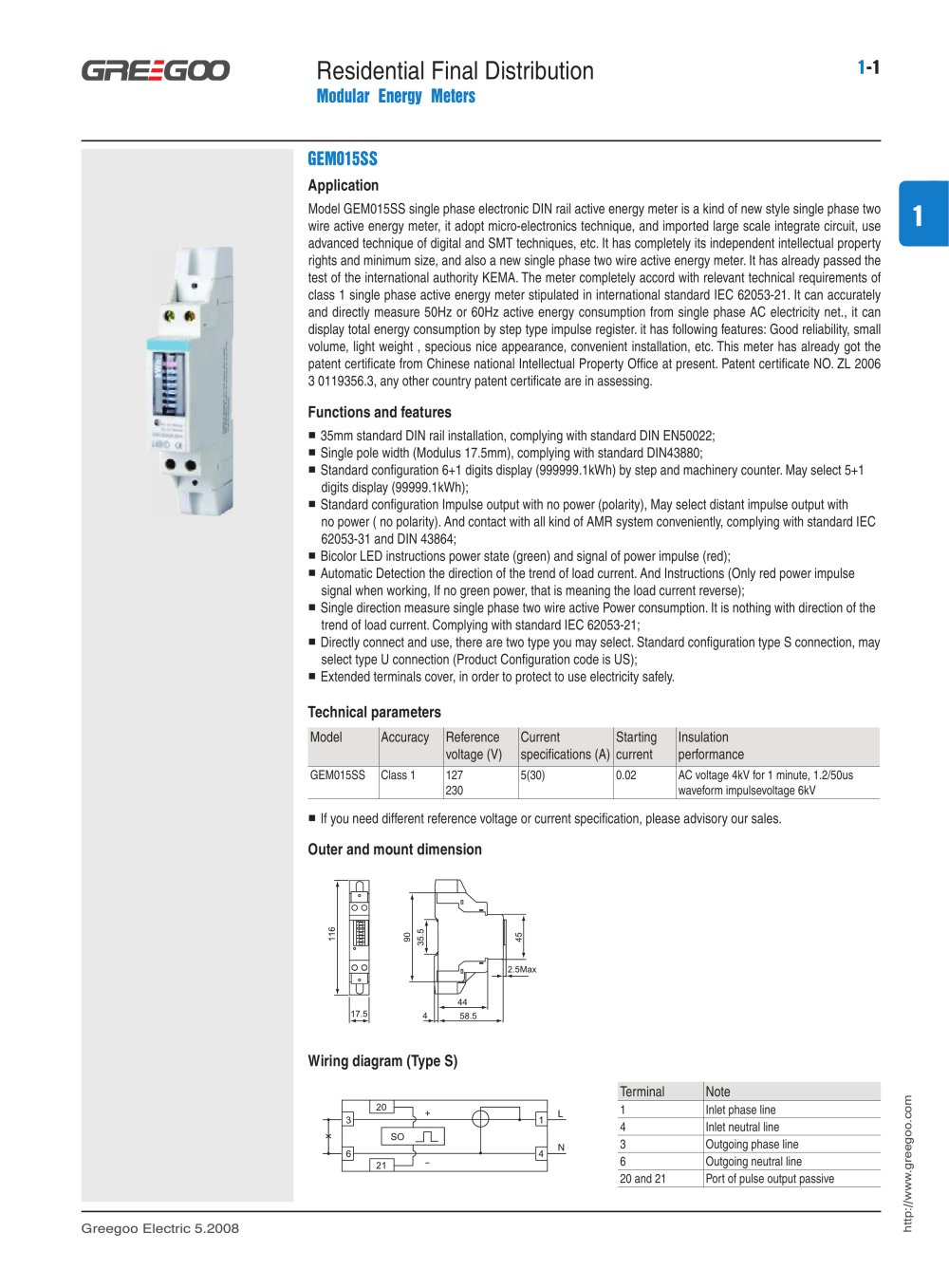 Din Rail Kwh Meters Catalogue Greegoo Electric Co Ltd Pdf Single Phase Meter Wiring Diagram 1 182 Pages