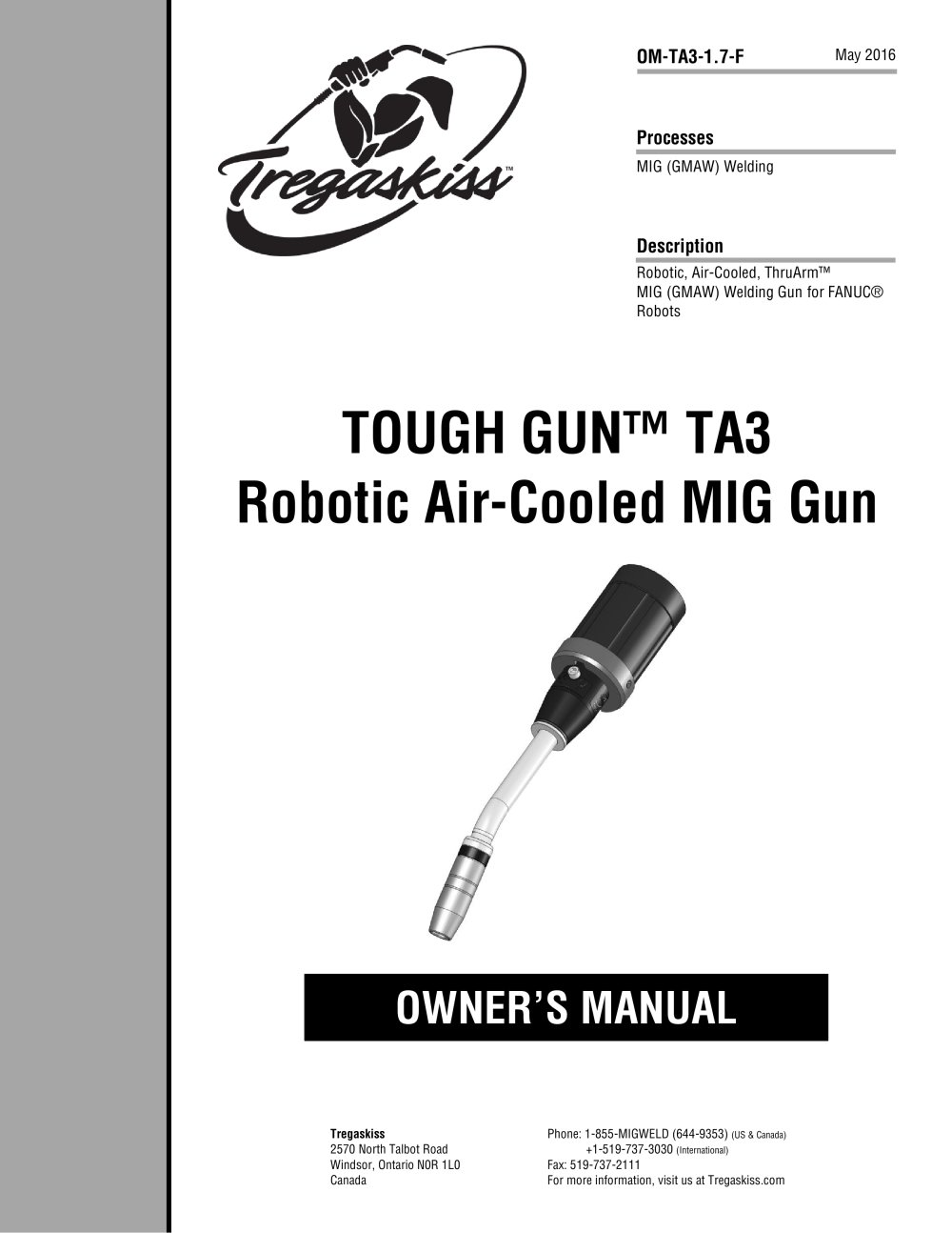TOUGH GUN TA3 Robotic Air-Cooled MIG Guns for FANUC Robots Owner's Manual -  1 / 24 Pages