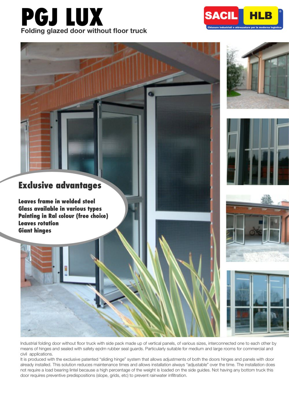 Folding door without floor track / PGJ LUX 3000 - SACIL HLB - PDF ...