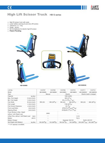 i-Lift/Hu-Lift Weighing Scissor Truck HBMS/HBES