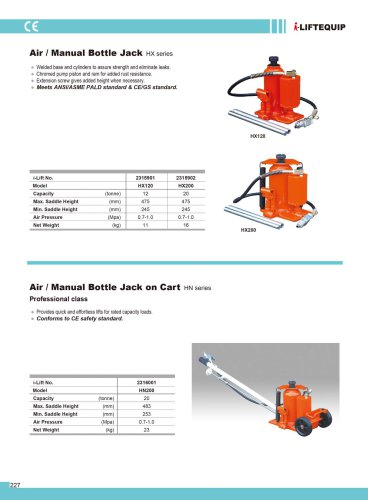 MATERIAL HANDLING EQUIPMENT/I-LIFT/AIR/MANUAL BOTTLE JACK/HX SERIES