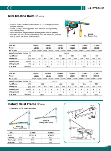 MATERIAL HANDLING EQUIPMENT/I-LIFT//ROTARY HOIST FRAME/MF SERIES