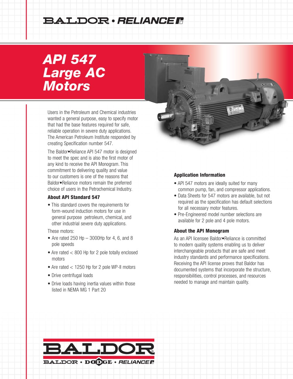 API 541 Large AC Motors - Baldor Electric Company