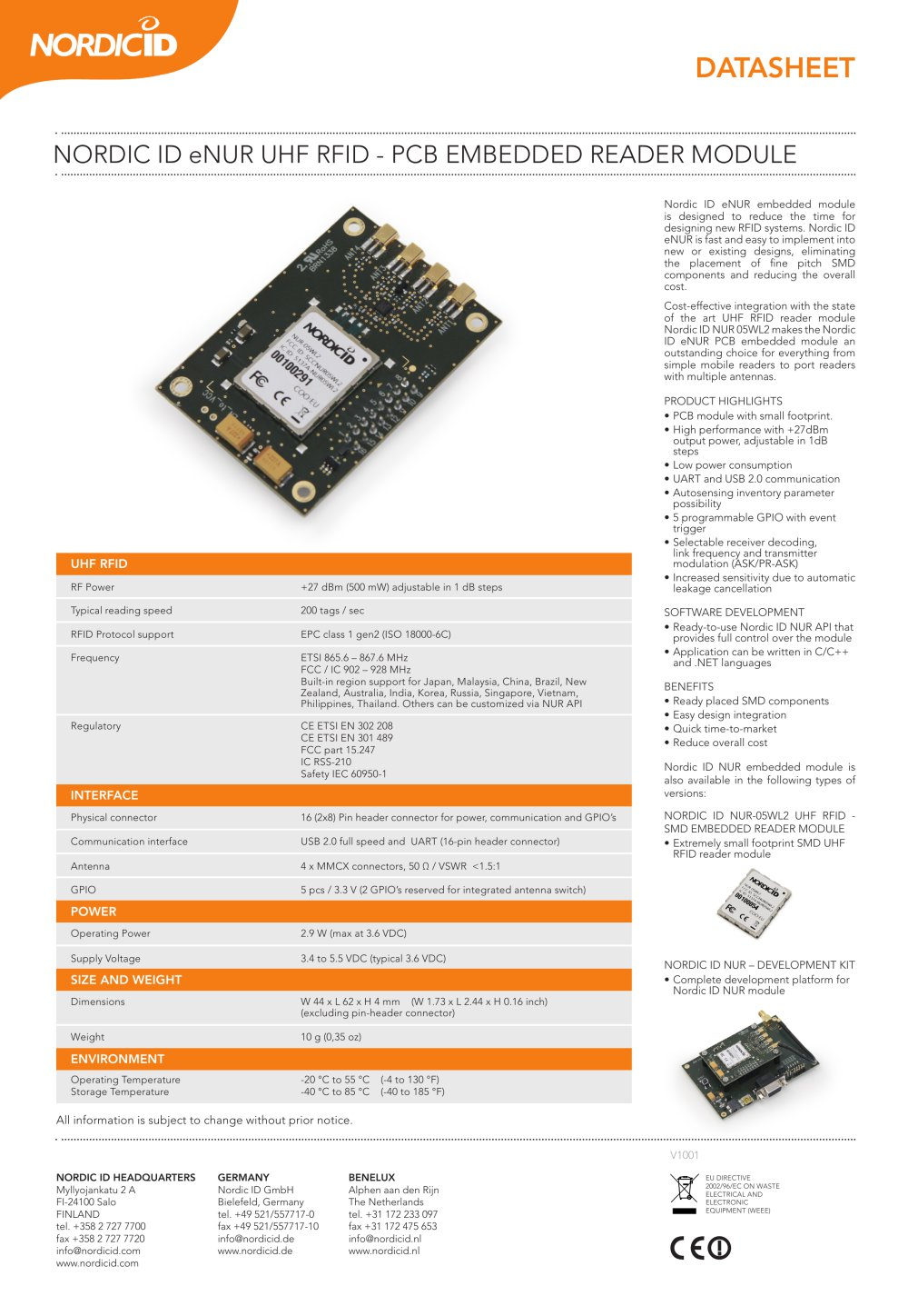 Nordic Id Enur Uhf Rfid Pcb Embedded Reader Module Ic 1 Pages