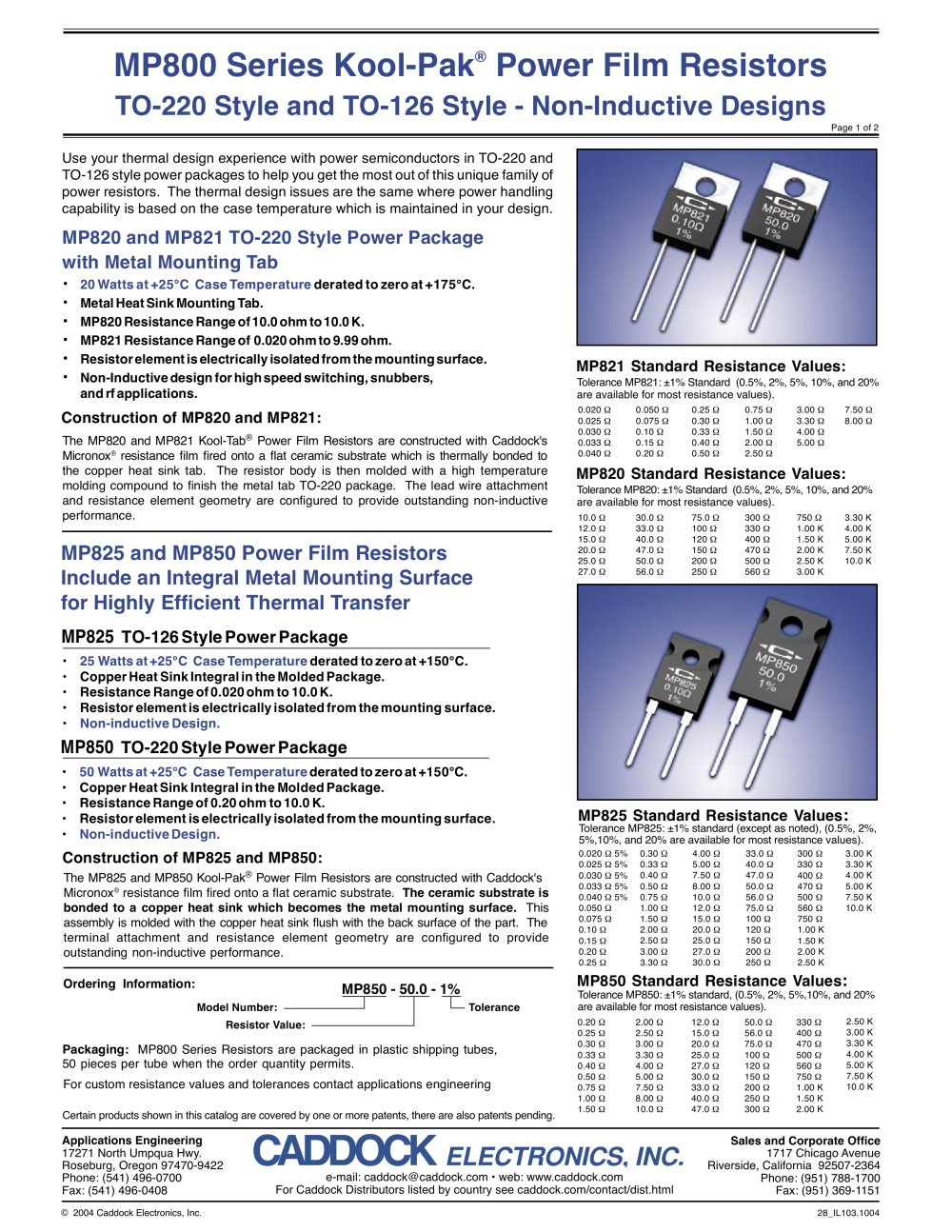 Current Sense Resistorsmp820 Mp821 Caddock Electronics Pdf Designing A Resistor Network Resistors In Series 1 2 Pages