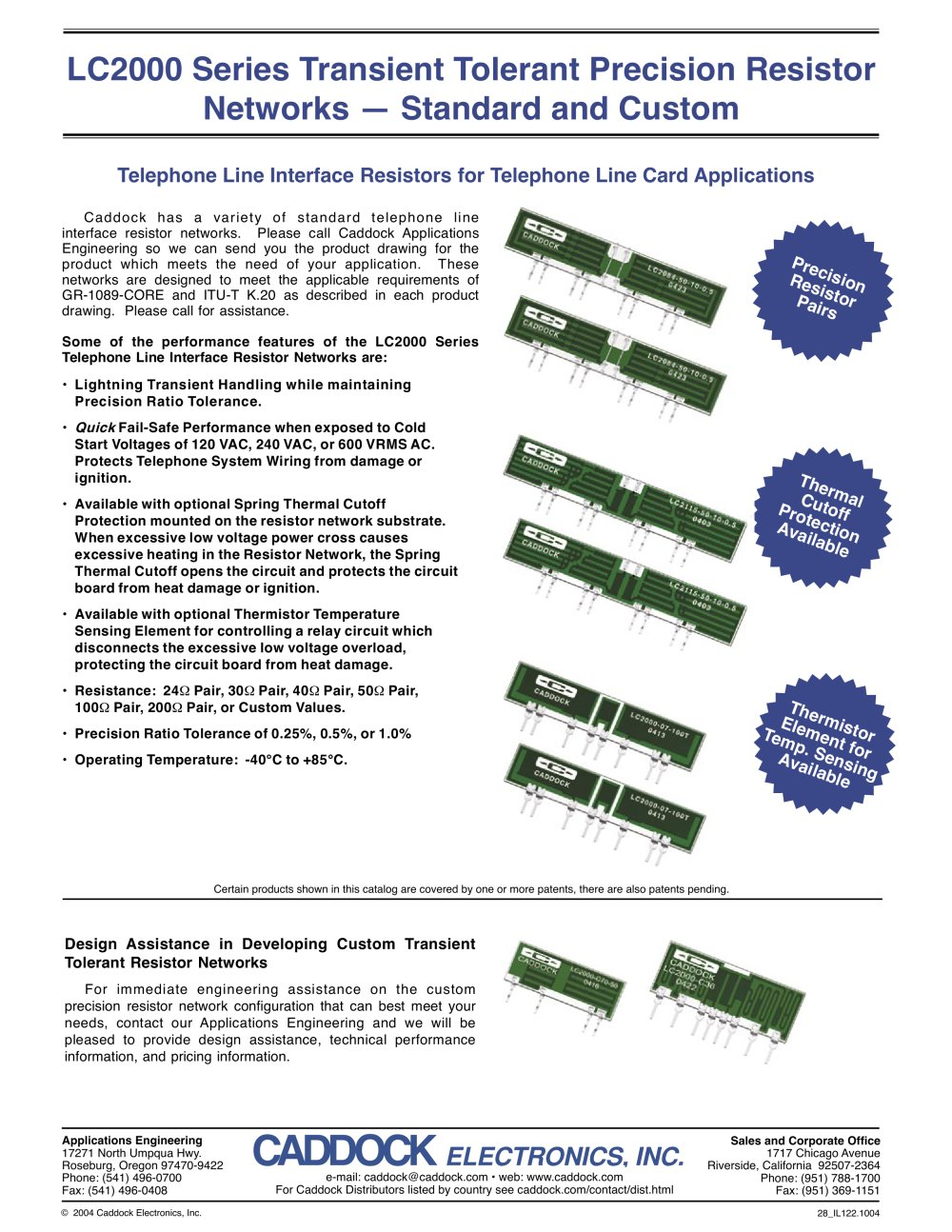 Lc2000 Series Transient Tolerant Precision Resistor Networks Opens In A Circuit Custom And Standard 1 Pages