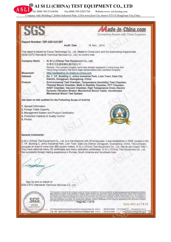 Sgs Certificate Asli China Test Equipment Co Ltd Pdf