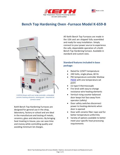 Bench top Hardening Ovens - Furnace Model K-659-B - Keith company