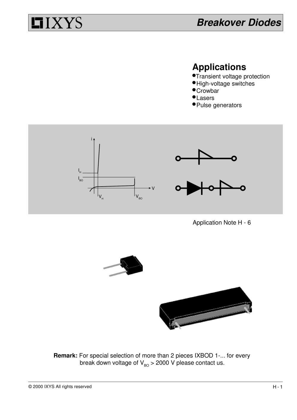 Breakover Diodes Ixys Pdf Catalogue Technical Documentation Schottky Pin Smd Switching Rectifier 1 8 Pages