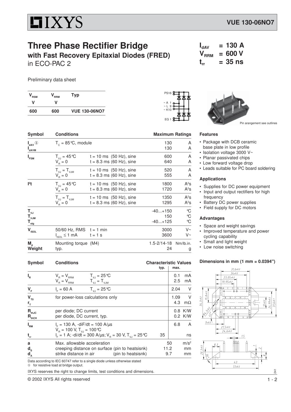 Three phase rectifier bridge with fast recovery epitaxial diodes three phase rectifier bridge with fast recovery epitaxial diodes fred 1 2 pages biocorpaavc