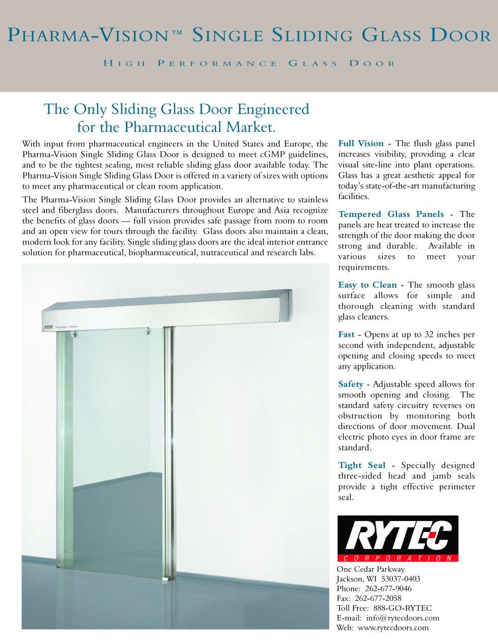 Pharma Vision Single Slide Glass High Performance Glass Door